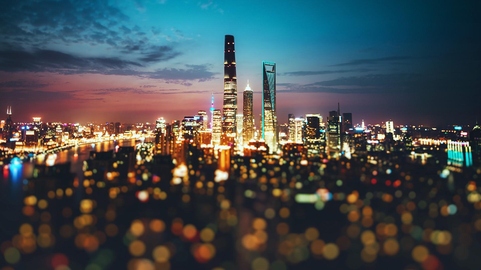 Wallpaper For Girls Laptop Desktop Wallpaper Shanghai City Night Lights Bokeh Hd
