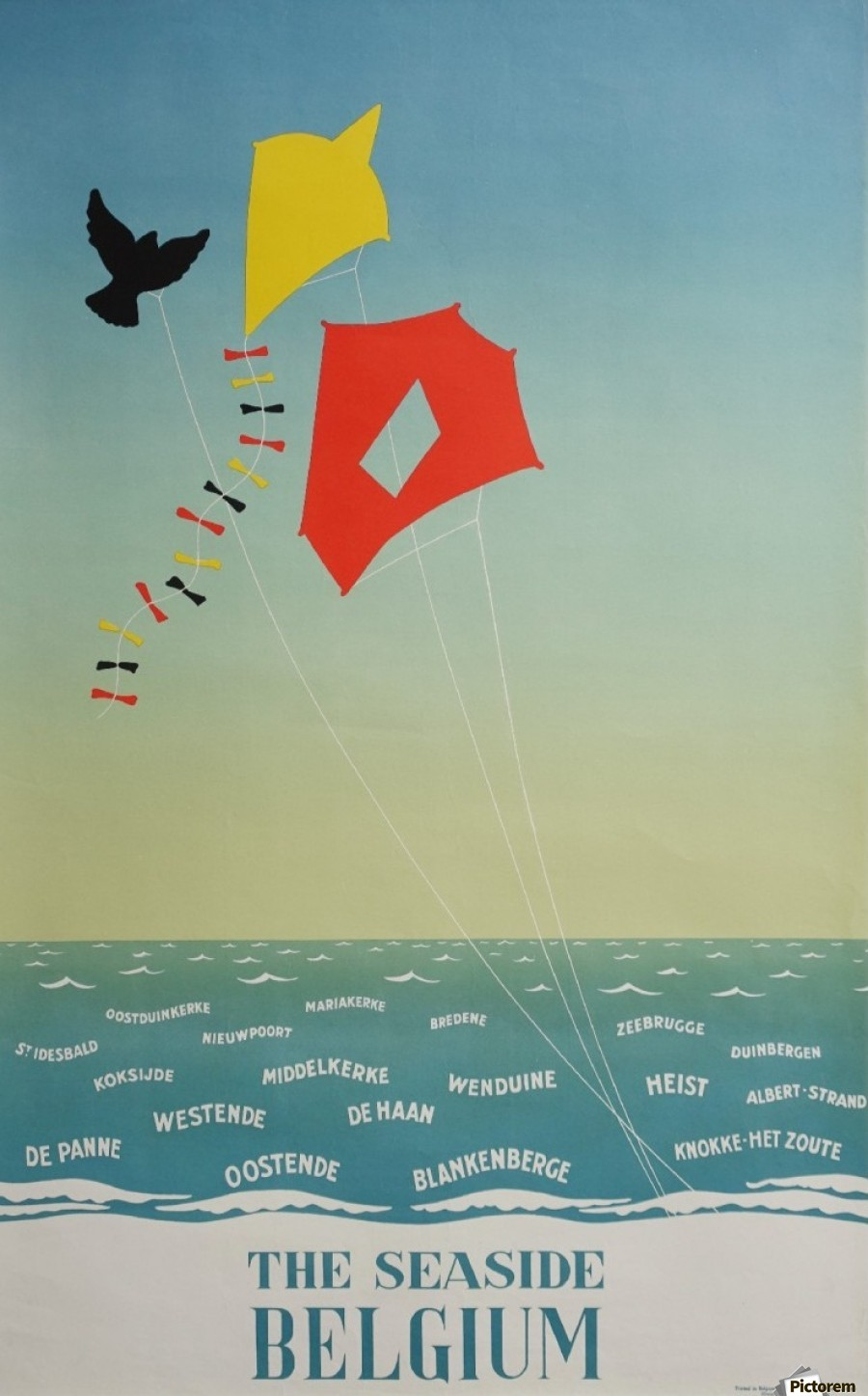 Poster Strand 1950 Belgium Seaside Original Travel Vintage Poster Vintage Poster Canvas Artwork