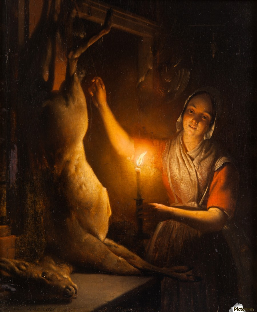 Candle Light Painting Deer Seller At Candle Light Petrus Van Schendel Canvas Artwork