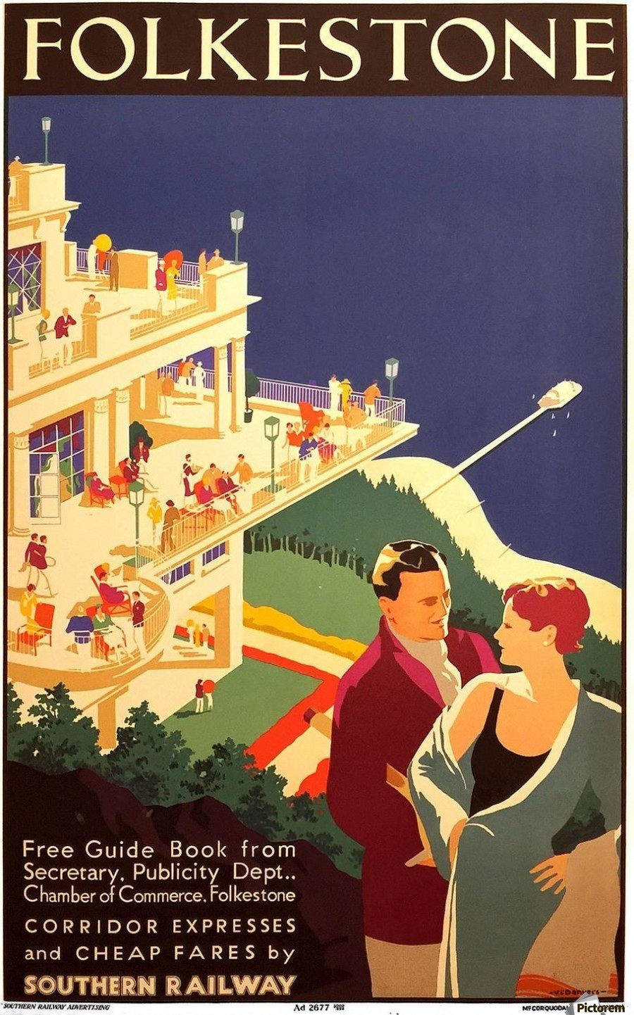 Deco Poster English Art Deco Period Travel Poster For Folkestone By Danvers 1934 Vintage Poster Canvas Artwork