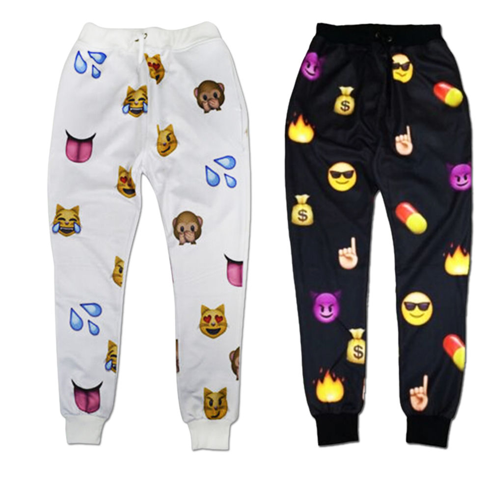 Pants S Xl Men Women White Emoji Funny Autumn Winter Printed Thicken 3d Jogger Pants S Xl