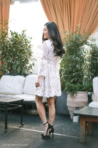 extra petite, blogger, white dress, lace dress, black ...
