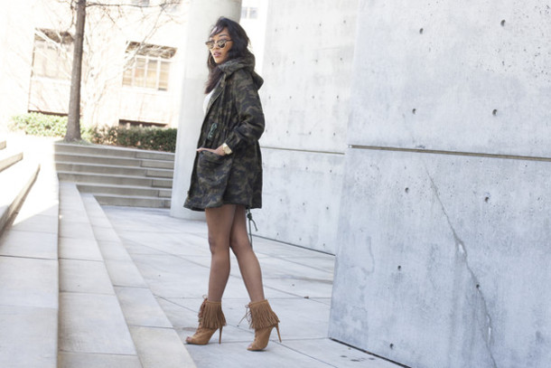 Shoes Fringe Shoes Camo Jacket Booties Fall Outfits