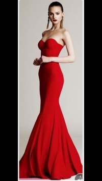 dress, long prom dress, red, strapless prom dress, prom ...
