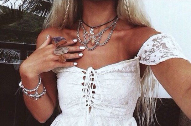 Jewels Hippie Boho Gypsy Crystal Necklace Ring