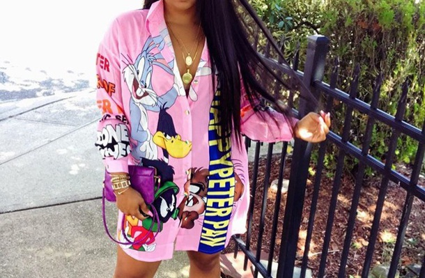 Blouse Looney Toons Pink Dress Bugs Bunny Button Up