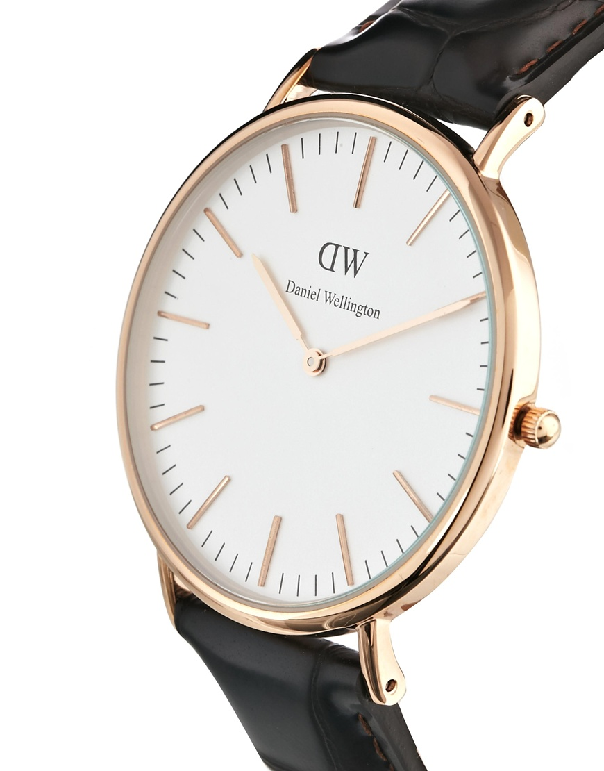 Leather Strap Rose Gold Watch Daniel Wellington York Rose Gold Brown Leather Strap Watch At Asos