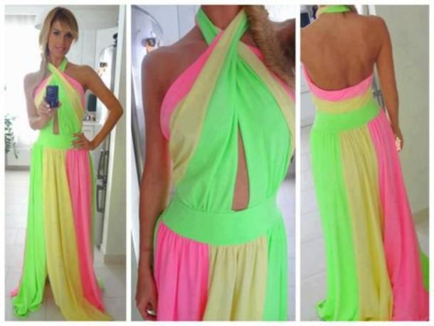 dress, colorful, green, yellow, pink, maxi dress - Wheretoget