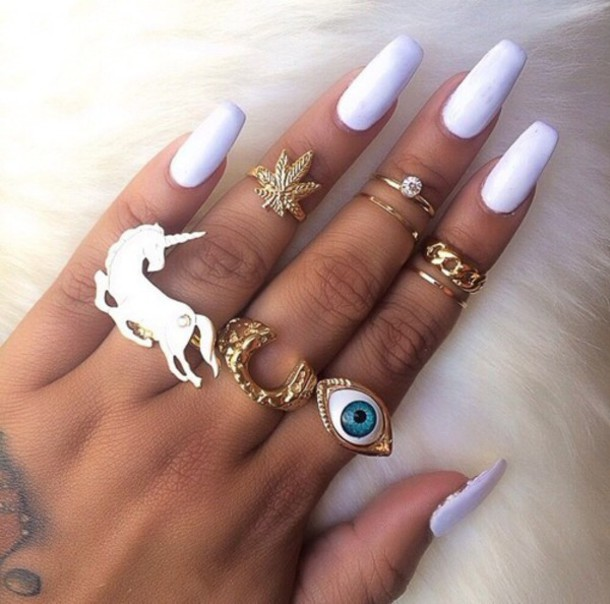 Jewels Long Nails Finger Rings Ring Gold Weed Eye