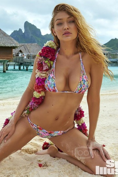 T Shirt Girl Hd Wallpaper Swimwear Swimwear Gigi Hadid Bikini Floral Wheretoget