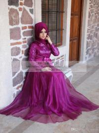 Purple Sequins Muslim Islamic Prom Dresses 2016 A Line ...