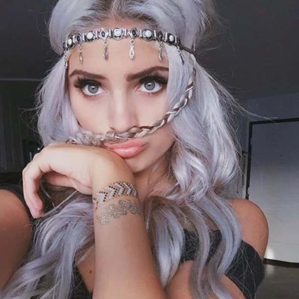 Halloween White Haired Anime Girl Wallpaper Hair Accessory Carrington Durham Jewels Silver Purple