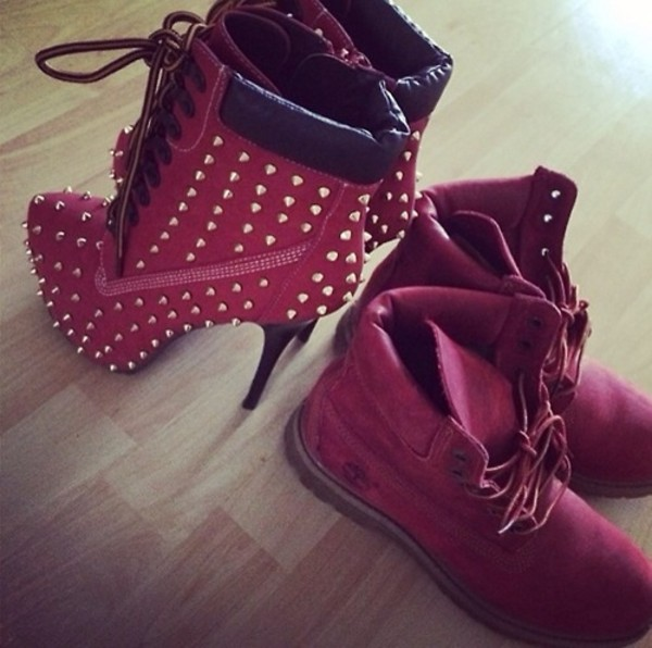 Shoes Timberlands Tina Turner Timberland Heels Red