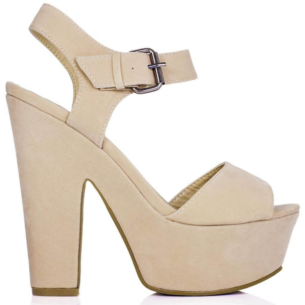 Buy shelly block heel buckle platform sandal shoes cream suede style online