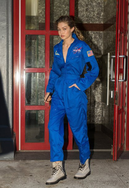 Jumpsuit Blue Blue Pants Gigi Hadid Fall Outfits