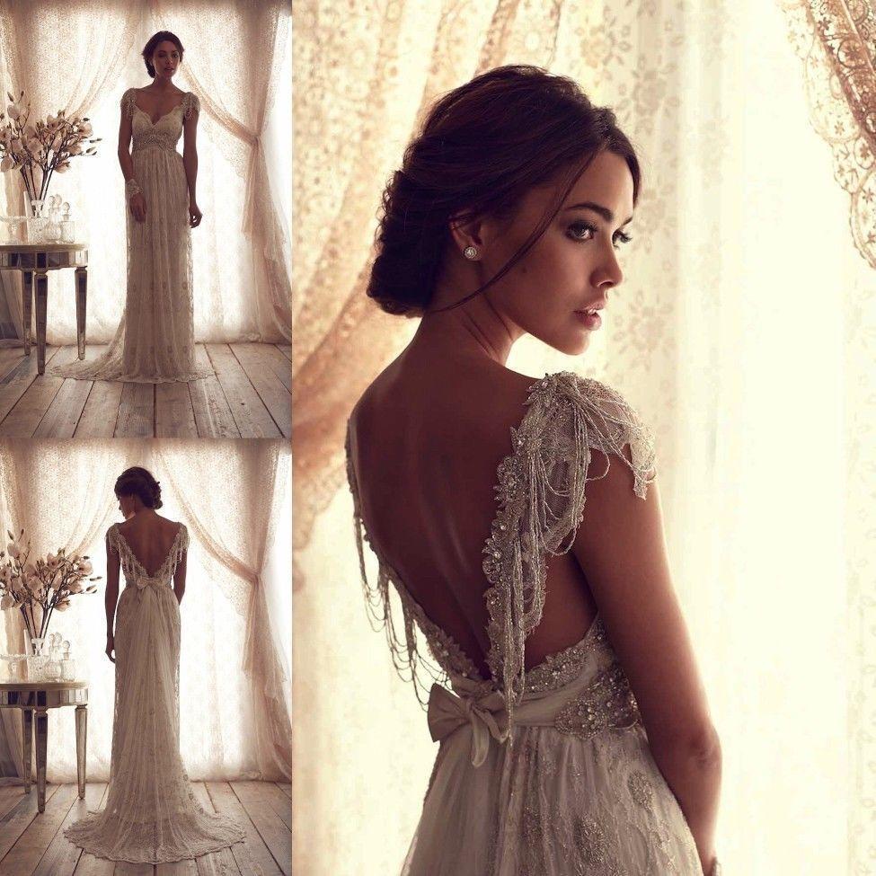 backless wedding dress Anna Campbell Bridal Gown Ivory Lace Sexy V Backless Wedding Dresses Custom Size eBay