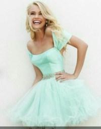 Dress: babydoll dress, mint dress, mint green prom dress ...