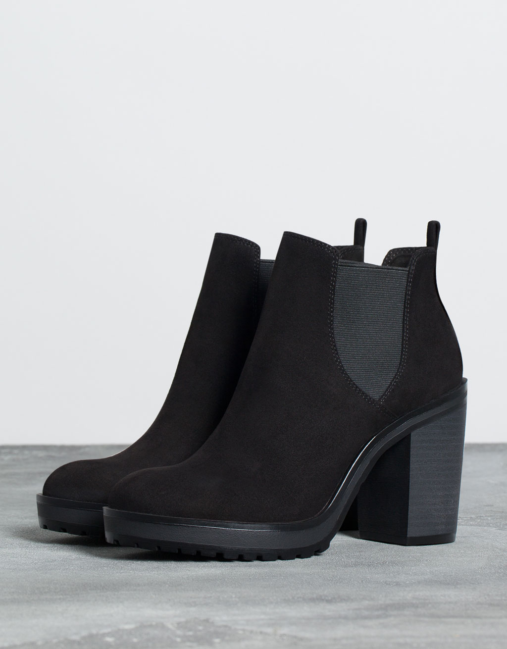 Mexico Chair Schwarz Bershka Elastic Heeled Ankle Boot Boots And Ankle Boots