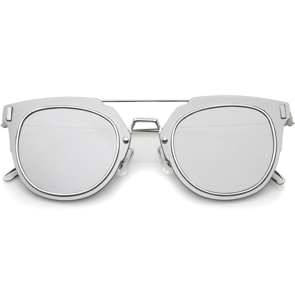 Mirror Frame Glasses Fiyah Wire Flat Frame Mirror Sunglasses In Silver Mirror At Flyjane