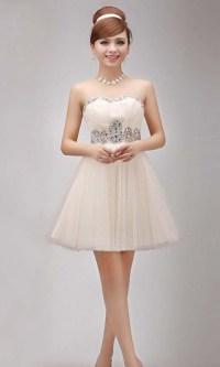 Charming Rhinestone Strapless Short Beige Party Dress ...