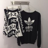 Sweater Black And White Adidas Japanese Writing Chinese Writing Edit