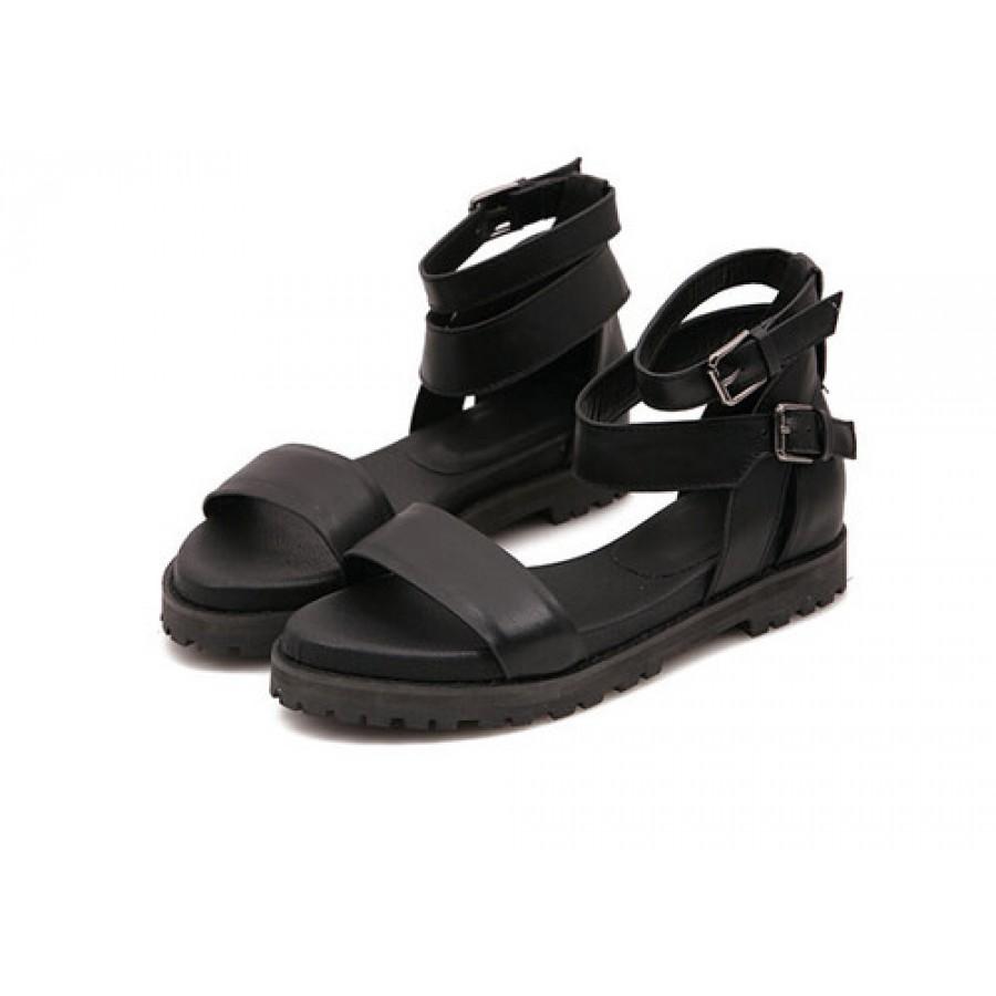 Black leather strappy flatform sandals