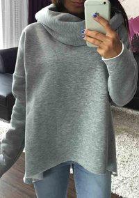 Women Long Sleeve Shawl Collar Sweatshirt