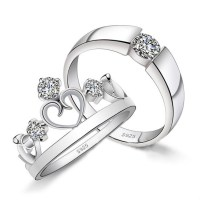 Personalized Sterling Silver Zirconia Crown Couples Rings ...