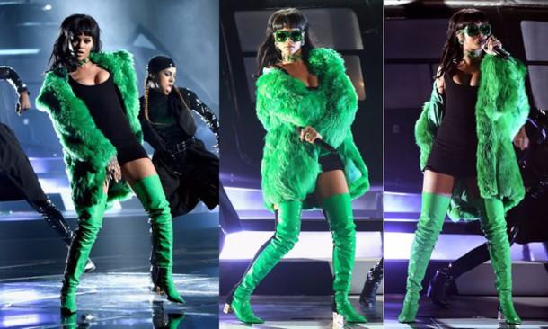 Boots Rihanna Sunglasses Green Coat Thigh High Boots