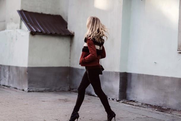 Jacket Tumblr Burgundy Pants Black Pants Boots High