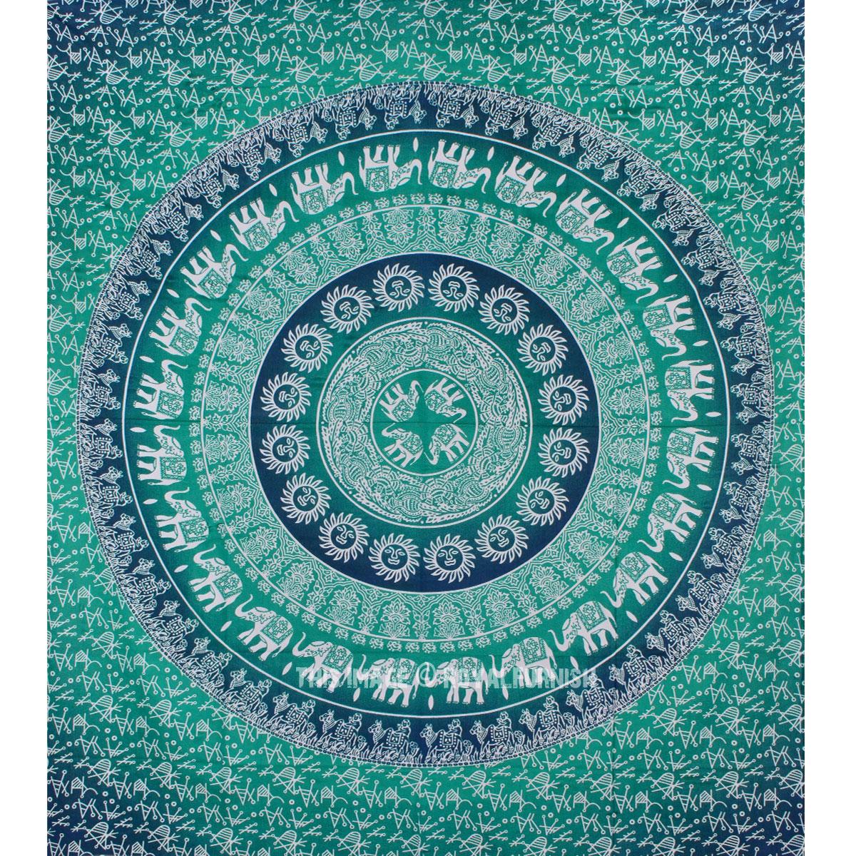 Green multi elephants sun ombre mandala wall tapestry royalfurnish com