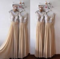 Elegant Champagne V-neckline Prom Dresses, Bridesmaid ...