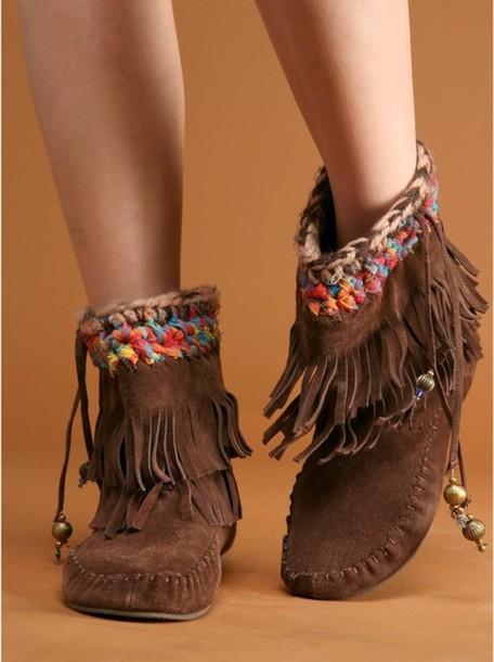 Shoes Moccasins Boho Fringes Pocahontas Lovely