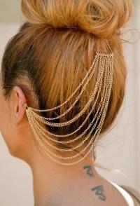 hair accessory, ear cuff, earring cuff, hair chain, hair ...