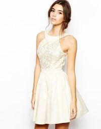 Dress: prom dress, mini dress, white dress, nude dress ...