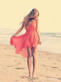 Dress: summer dress, summer outfits, coral dress, beach ...