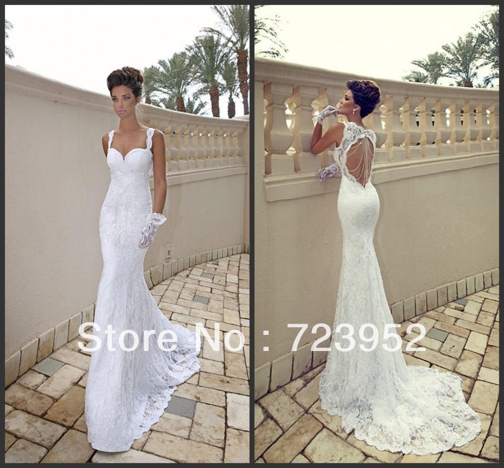backless wedding dress Aliexpress com Buy New Fashion Women Sexy Spagetti Straps Lace Beading Backless Beach Wedding Dresses from