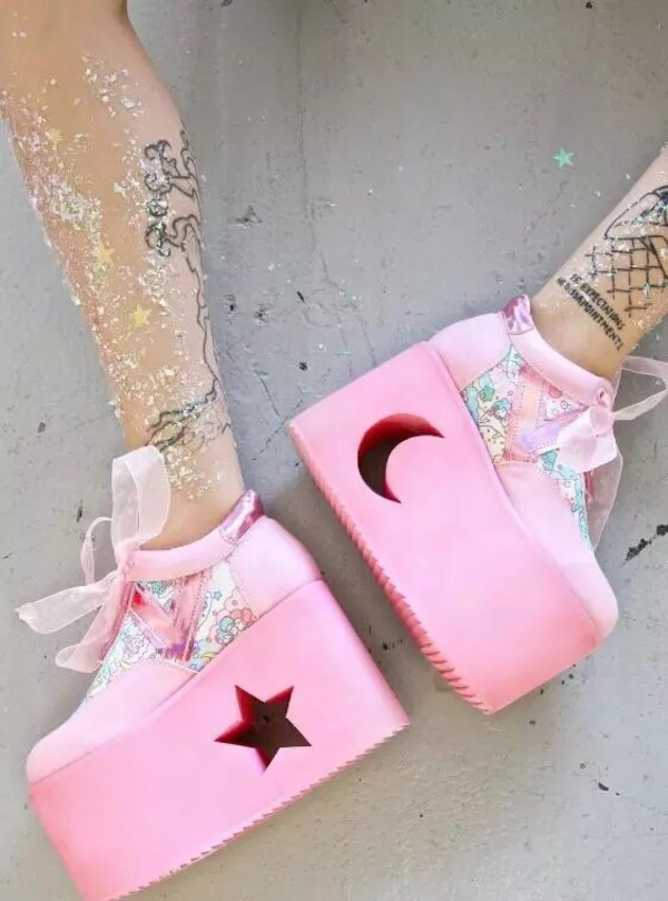 Anime Goth Girl Wallpaper Shoes Grunge Tumblr Platform Shoes Pink Shoes Pastel