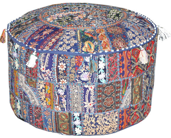 Round Ottoman Pouf In Navy Blue Bohemian Stool Chair