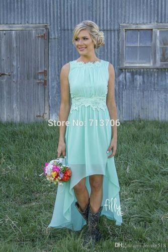 country dresses for weddings Mint Country Bridesmaid Dresses Hi Lo Chiffon Junior Maid of Honor Dresses Beach Short Front Long