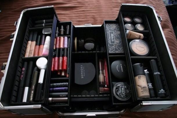 Bag Makeup Bag Make Up Mac Cosmetics Silver Blue Ysl