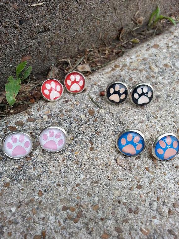 Paw Print Earrings, Dog Earrings, Animal Earrings, Silver