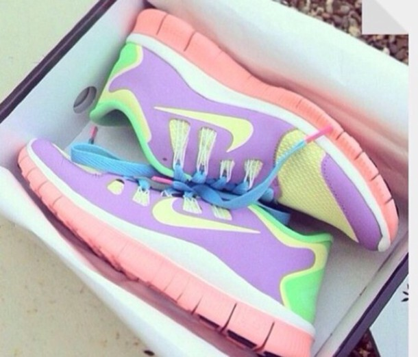 shoes, nike, nike free run, pastel, yellow, purple, pink, green