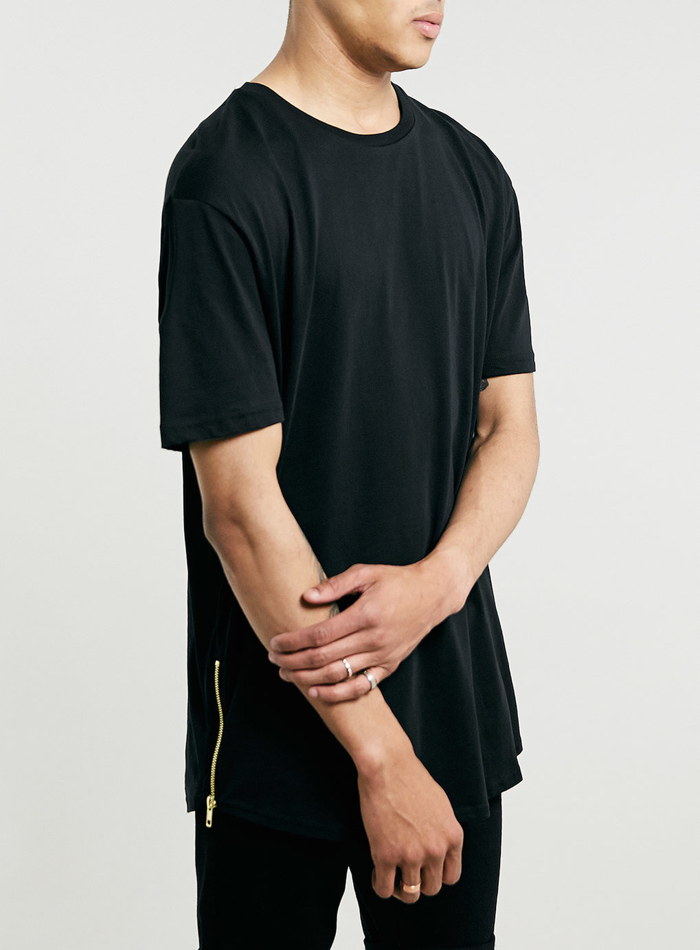 Black t shirt with zipper black zips skater t shirt men s t shirts vests clothing
