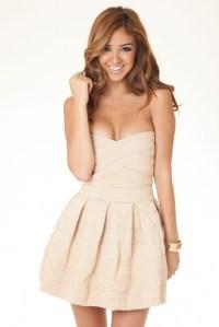 Dress: strapless dress, short dress, beige dress - Wheretoget