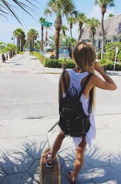 Penny Skateboards Girl Wallpaper Bag Summer Longboard Skateboard Blonde Hair Backpack