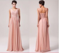 Dress: blush bridesmaid dress, long chiffon bridesmaid ...