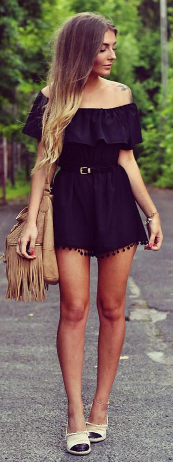 Jumpsuit black picture from we heart it weheartit romper belt boho dress off the shoulder wheretoget