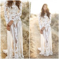 """Ambria"" Crochet Laces Cover Up Maxi Dress  Glamzelle"