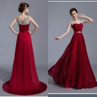 Beautiful Wine Red Long Prom Dress With Beadings, Prom ...